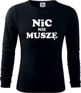 Czarny t-shirt TopKoszulki.pl z bawełny z długim rękawem