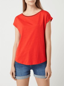 Czerwona bluzka Esprit z okrągłym dekoltem w stylu casual z krótkim rękawem