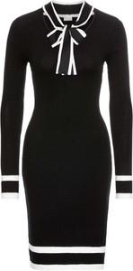 Czarna sukienka bonprix bodyflirt boutique w stylu klasycznym z długim rękawem z dzianiny