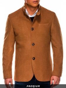 Brązowy płaszcz męski Ombre w stylu casual