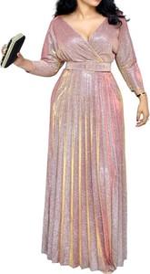 Różowa sukienka Arilook maxi z długim rękawem