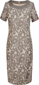 Brązowa sukienka Prettyone z krótkim rękawem ołówkowa