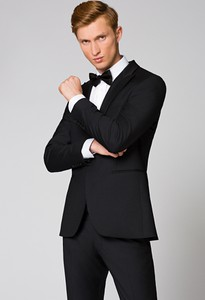 Czarny garnitur LANCERTO z tkaniny