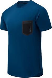 Niebieski t-shirt New Balance z tkaniny z krótkim rękawem