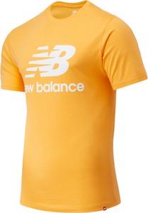 Pomarańczowy t-shirt New Balance z okrągłym dekoltem z krótkim rękawem