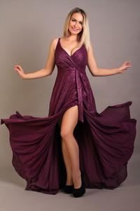 Fioletowa sukienka Oscar Fashion kopertowa z dekoltem w kształcie litery v