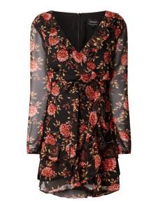 Sukienka Bardot z dekoltem w kształcie litery v z długim rękawem mini