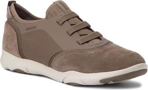 Brązowe buty sportowe Geox ze skóry