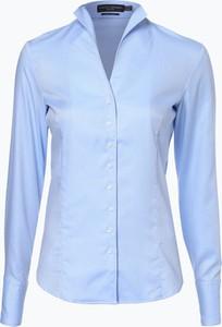 Niebieska koszula Franco Callegari z długim rękawem ze stójką z bawełny