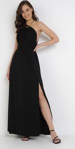 Czarna sukienka born2be bez rękawów maxi trapezowa