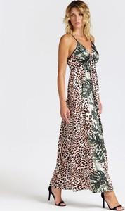 Sukienka Guess maxi z tkaniny z dekoltem w kształcie litery v