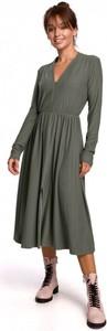 Sukienka Be midi z bawełny z długim rękawem
