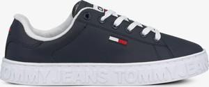 Czarne buty sportowe Tommy Hilfiger z płaską podeszwą ze skóry