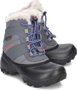Czarne buty dziecięce zimowe Columbia sznurowane