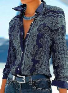 Niebieska koszula Sandbella z bawełny z dekoltem w kształcie litery v