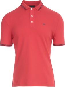 Czerwona koszulka polo Emporio Armani w stylu casual z krótkim rękawem