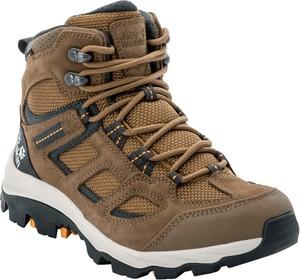 Brązowe buty trekkingowe Autoryzowany Sklep Jack Wolfskin z płaską podeszwą sznurowane z weluru