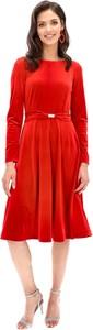 Czerwona sukienka Lavard midi z okrągłym dekoltem z długim rękawem