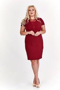 Czerwona sukienka Fokus z krótkim rękawem z okrągłym dekoltem