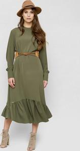 Zielona sukienka Freeshion z długim rękawem midi