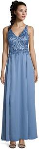 Niebieska sukienka Vera Mont z dekoltem w kształcie litery v bez rękawów maxi