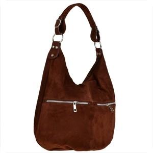 Brązowa torebka Borse in Pelle z zamszu w wakacyjnym stylu średnia