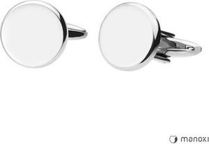Manoki MA045 srebrne, okrągłe spinki do mankietów pod grawer