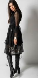 Czarna sukienka Fashion Manufacturer w stylu casual