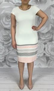 Sukienka Dorota z okrągłym dekoltem z żakardu