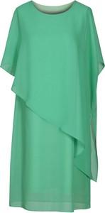 Zielona sukienka Fokus midi w stylu casual z krótkim rękawem