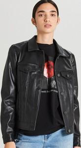 Czarna kurtka Cropp ze skóry ekologicznej w stylu casual