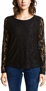 Czarna bluzka STREET ONE z długim rękawem z okrągłym dekoltem