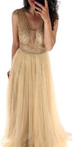Brązowa sukienka Paris maxi bez rękawów