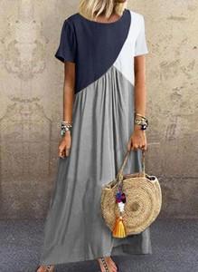Sukienka Sandbella w stylu boho z okrągłym dekoltem z krótkim rękawem
