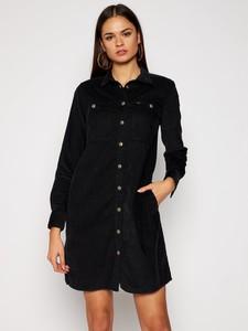 Czarna sukienka Lee mini z kołnierzykiem z jeansu