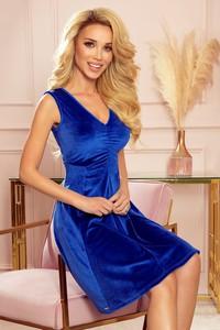 Niebieska sukienka NUMOCO z dekoltem w kształcie litery v z krótkim rękawem