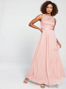Różowa sukienka V by Very bez rękawów z okrągłym dekoltem