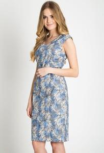 Niebieska sukienka QUIOSQUE z dekoltem w kształcie litery v