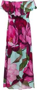 Sukienka Desigual maxi z krótkim rękawem z dekoltem w kształcie litery v