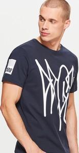 Granatowa koszulka Cropp z krótkim rękawem w młodzieżowym stylu
