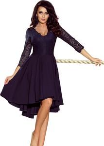 Niebieska sukienka NUMOCO asymetryczna z długim rękawem