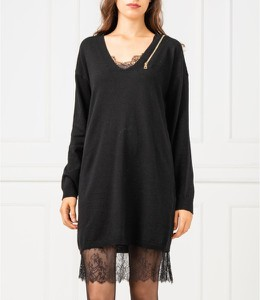 Czarna sukienka Twinset prosta z kaszmiru