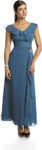 Sukienka Fokus z dekoltem w kształcie litery v rozkloszowana z szyfonu