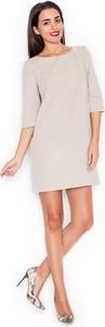Sukienka Katrus z długim rękawem z okrągłym dekoltem mini