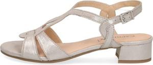 Złote sandały Caprice w stylu klasycznym