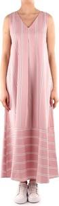 Różowa sukienka Emme Di Marella maxi z dekoltem w kształcie litery v