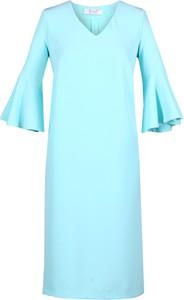 Niebieska sukienka Fokus z długim rękawem midi trapezowa