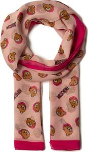 Różowy szalik Moschino z nadrukiem