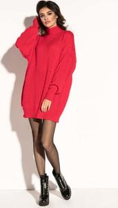 Czerwona sukienka Fobya mini z długim rękawem z moheru