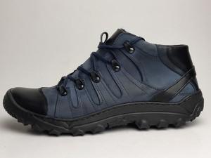 Granatowe buty trekkingowe Obuwiekrezus ze skóry